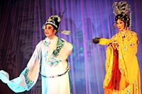 Singapore actors and actresses performing The Hainanese Opera Show in Kuching, Sarawak, Malaysia