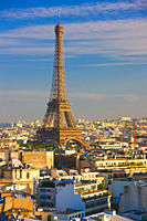 Elevated view of the Eiffel Tower and the cityscape of Paris, France.