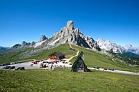 La Gusella mountain at the summit of Passo Giau, Dolomites, Italy