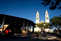 Mexico, Campeche State, Campeche City, historical center listed as World Heritage by UNESCO, the Zocalo and the Cathedral