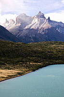 Detail of Lake Pehoe and Cuernos del Paine, Torres del Paine National Park, Chile