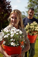 Woman holding Convolvulus white