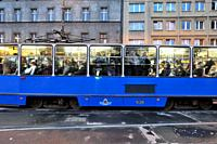 Tramway and commuters, Krakow, Poland