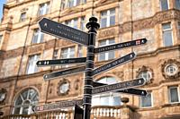 Pedestrian signposts in Soho, London, England
