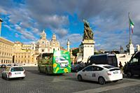 Traffic at Piazza Venezia Square central Rome Italy Europe