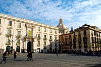 Piazza dell´Universita square central Catania Sicily Italy Europe