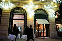 Paris, France, Luxury Christmas Shopping, Bucheron Jewelry, People Window Shopping, Place Vendome