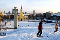 Ski in independence square in the center of town  Christmas in Tallin Estonia