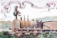 Picture celebrating the first train from Brussels to Mechlin in 1835  It was the first railway in continental Europe  After a watercolour by A  Heins ...