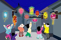 Kids celebrating Spring Festival
