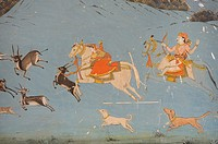 India, Rajasthan, Jaipur region, Samode palace, Shish Mahal Hall of Mirrors, Miniature painting, Hunting scene.