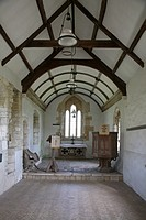 Interior of the ancient church at the picturesque village of Whitcombe near Dorchester