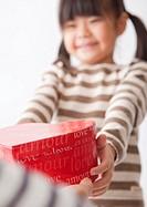A girl sending a present