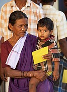 A Woman Holding A Young Boy, Sathyamangalam, Tamil Nadu, India