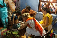A Medical Professional With A Stethoscope Does A Check Up On A Boy, Sathyamangalam, Tamil Nadu, India