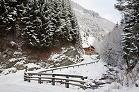 Rauris Rauriser Sonnen Valley Austria Europe  View along mountain road to Gaisbachtal in alpine valley lined with fir trees following heavy snowfall i...