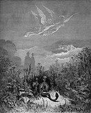 Gustave Doré, Black and White Engraving from Dante Aghlieri's Devine Comedy, Dante and Virgil in the Happy Valley