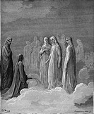 Gustave Doré, Black and White Engraving, Dante and the Spirits of the Moon