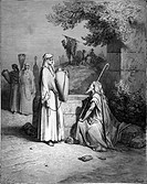 Gustave Doré, Rebecca meets Eliezer at the Well, Eliezer testing Rebecca, Black and White Engraving