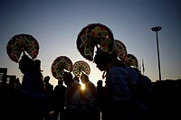 Papantla dancers perform the turkey's dance outside the Our Lady of Guadalupe Basilica in Mexico City. Hundreds of thousands of Mexican pilgrims conve...