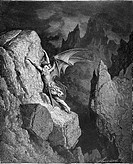 Gustave Doré, Satan's Flight Through Chaos from John Milton's Paradise Lost, Black and White Engraving