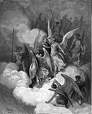Gustave Doré, Abdiel and Satan from John Milton's Paradise Lost, Black and White Engraving