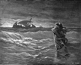 Gustave Doré, Jesus Walks on Water, Black and White Engraving