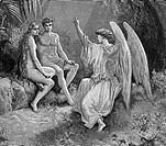 Gustave Doré, Detail from The Angel Raphael visiting Adam and Eve in Paradise from John Milton's Paradise Lost, Black and White Engraving
