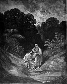 Gustave Doré, David and Jonathan: Old Testament, 1 Samuel xx, Black and White Engraving