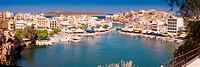 Agios Nikolaos panoramic photo with iconic view of the port
