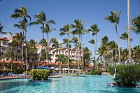 america, caribbean sea, hispaniola island, dominican republic, punta cana, hotel barcelo punta cana, swimming pool