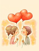 A young boy and girl kissing holding heart shaped balloons