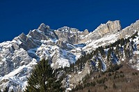 Mountains near Schwaendi, Glarus Alps, Canton of Glarus, Switzerland, Europe