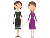 Illustration of two business women standing side by side