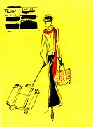 A woman at an airport with her luggage