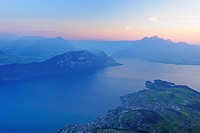 Lake Lucerne with the village of Weggis, in the distance, Pilatus Mountain, Lucerne, Switzerland, Europe