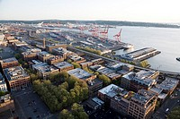 Aerial View of the Port of Seattle and the Central Business District, Seattle, Washington at Sunset