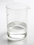 Beaker of water on white background