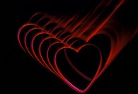 Sequence of glowing red heart shapes.
