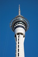 Auckland North Island New Zealand  Sky Tower observation and radio tower upper section with restaurant levels and two observation decks in city centre...