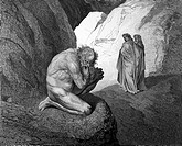Gustave Doré, Dante and Virgil meet Plutus, Guardian of the Fourth Circle of Hell from Dante Alighieri's Divine Comedy, Black and White Engraving