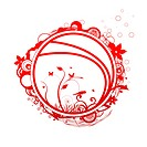 2 red decorative design