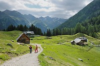 Duisitzkarhuette and Fahrlechnerhuette mountain lodges at the Duisitzkarsee lake, Schladminger Tauern mountains, Styria, Austria, Europe