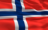 Fluttering flag of Norway on the wind