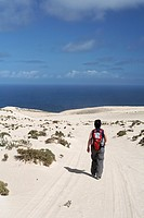 Hiker in El Jable , Jandia , Fuerteventura , Canary Islands