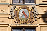 Town hall in Vohenstrauss , emblem with fox and goose , Upper Palatinate , Bavaria Germany