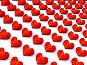 flame row hearts. 3d
