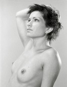 Beauty naked woman studio portrait  Scanned black and white film source