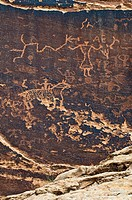 About 3000 year old rock paintings by Native Americans, Sans Island, near Bluff, North Utah, USA
