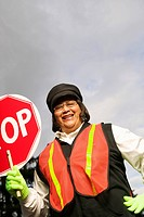 A female crossing guard